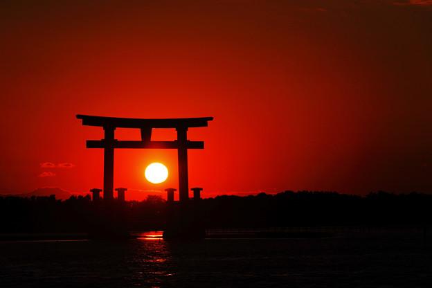 写真: 浜名湖 弁天島 夕景