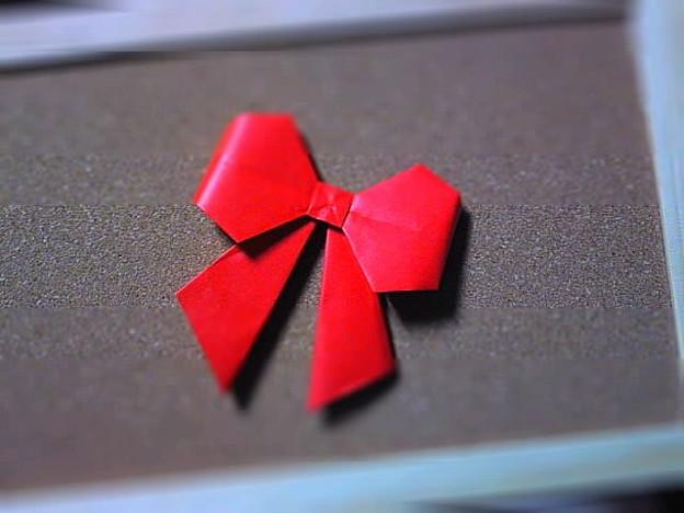 ハート 折り紙:折り紙でリボン-photozou.jp