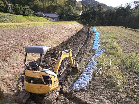 暗渠の溝、掘り終わり