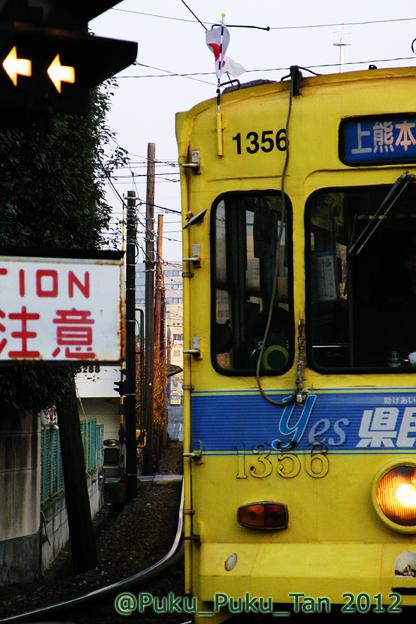 熊本市電の踏切。